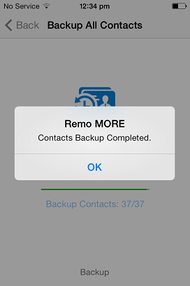 How to Backup Contacts On iPhone 5 - Confirmation Message